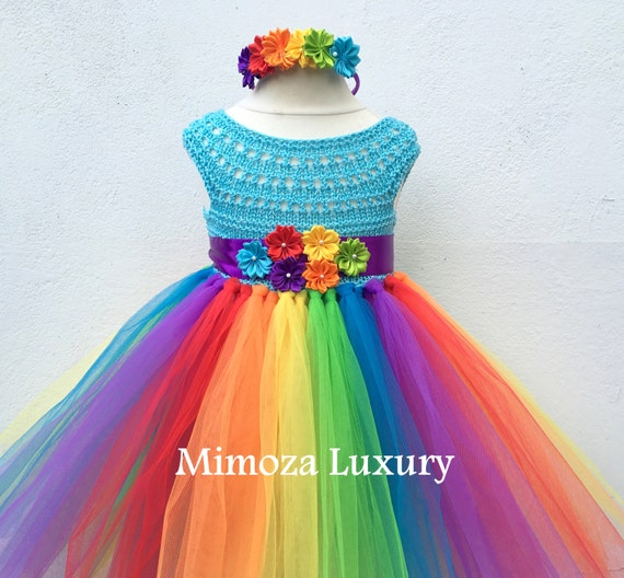 My Little Pony Birthday Tutu Dress, Rainbow tutu dress, my little pony tutu dress, crochet top tulle dress, hand knit top tutu halloween
