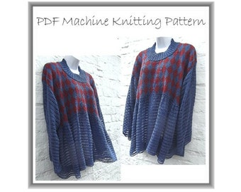 Machine knitting pattern Lagenlook PDF downloadable casual baggy smock tunic top sweater jumper layering