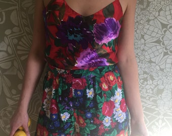 Vintage Rayon High Waisted Floral Shorts