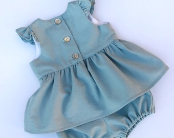Dusty Blue Linen Baby Outfit - Linen Baby Clothes - Coming Home Outfit - Baby Shower Gift Girl - Linen Baby Girl Dress - Birthday Outfit