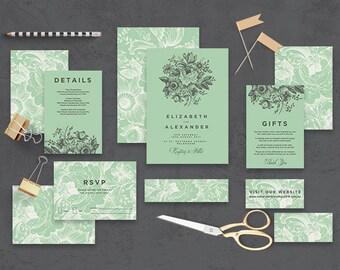 "Printable Wedding Invitation Suite ""The Secret Garden"" - Printable DIY Invite, Affordable Wedding Invitation"