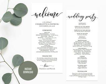 Wedding Program Template, Wedding Program Printable, Rustic Ceremony Program, DIY Wedding Program, Instant Download, Editable PDF, WLP524