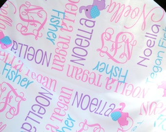 Personalized Baby Blanket with Elephants - Monogrammed Receiving Blanket for Girl - Custom Name Baby Blanket - Swaddling Blanket - Baby Gift