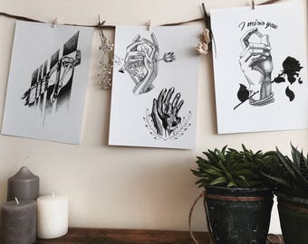 Set of 3 prints hands.