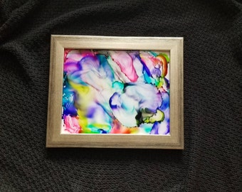 Alcohol Ink Framed Abstract Wall Hanging. Home Decor. Painted Wall Hanging. Alcohol Ink Art. Alcohol Ink Print. Alcohol Ink. Art Print.