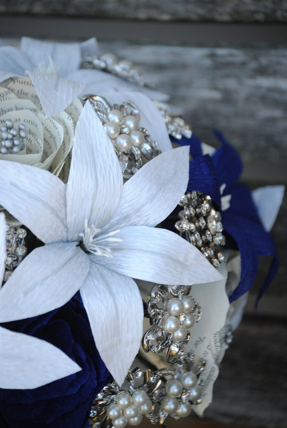 Custom Paper Flower & Brooch Wedding Bouquet. You Pick The Colors, Papers, Books, Etc.  Anything Is Possible. CUSTOM ORDERS WELCOME