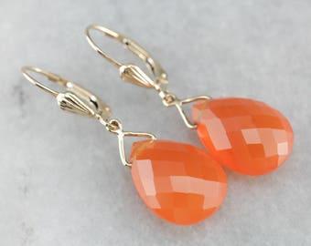 Tangerine Carnelian Gold Drop Earrings, Teardrop Earrings 2FCKAU-D