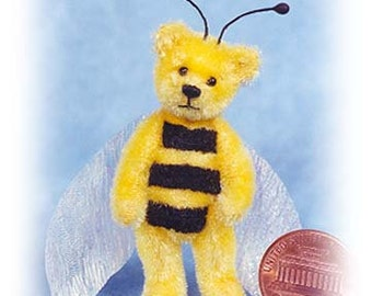 "PDF Pattern & Instructions for Miniature Teddy Bear - Baby Bee Bear - 2 1/4"" tall -  by Emily Farmer"