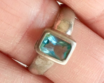 Vintage Sterling Silver Blue Topaz Ring Cushion Cut Size 7