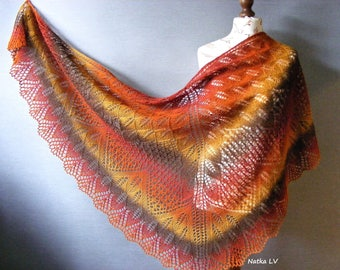 Knit shawl, knitted wool shawl, women lace shawl, hand knit triangle shawl, wrap, brown orange yellow, natural wool, handmade, gift for her