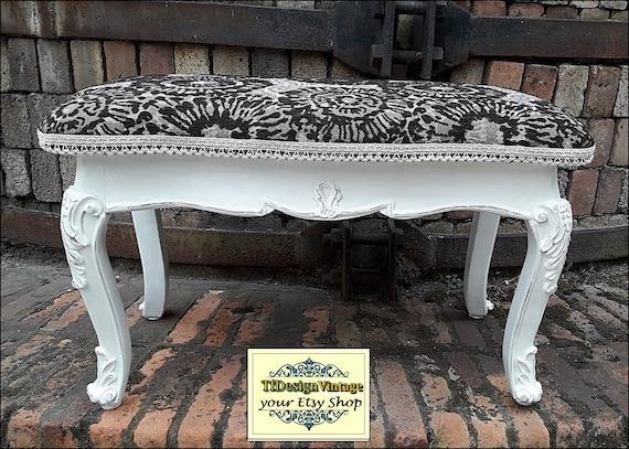 Banco de madera tapizado, Banco pies de cama, Banco blanco, Banco vintage, Banco para entrada, Banco dormitorio, Banco asiento tapizado