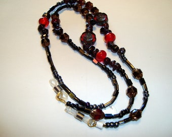 Red Flower Eyeglass Lanyard with Czech Glass Beads and other Beads in Shades of Blachk and Red, with Rubber eyeglass holders