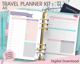 Printable TRAVEL PLANNER KIT – A5 – Itinerary, Budget, Accommodation, Bookmarks/Dividers, Cover, Contacts, Notes inserts refill