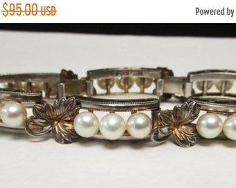 On Sale Vintage Estate Mid Century Sterling Silver 18 Japan Pearl Link Bracelet