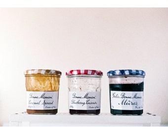 Bonne Maman Jam Jars Photo, 3 Jam Jars, Original 35mm FILM Photo Strawberry, Blackberry, Caramel, Gingham Bonne Maman Jars, Food Photography