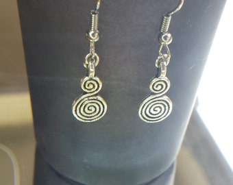 Tibetan silver Earrings, Swirl Earrings, Novelty Earrings, Dangle Earrings, Charms, Charm Earrings, Earrings, Silver Earrings,