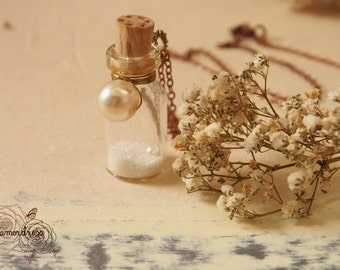 MAGIC SEA KEEPSAKE: White pearl with pure white pixie dust message in a bottle necklace sea keepsake miniature decor inspired piece