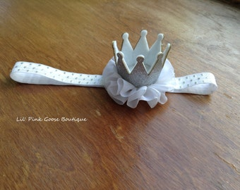 WHITE AND SILVER Crown Headband, Crown Headband, Birthday Crown, Smash Cake Headband, Crown headband, Princess Crown, 1st Birthday Girl
