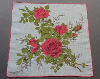 Pink Roses - Vintage 1950s Floral Cotton Hankie Handkerchief