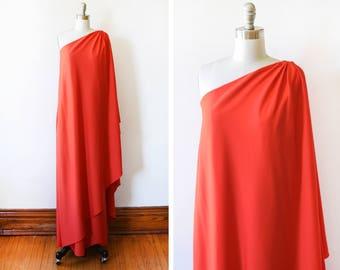70s Halston IV dress, vintage 1970s Grecian goddess dress, red orange draped one shoulder maxi dress, Studio 54 disco designer, small medium