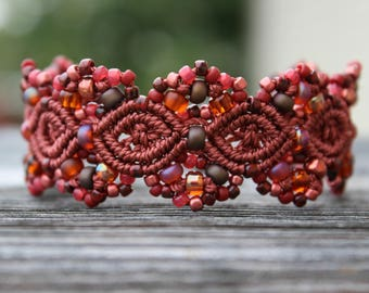 Micro-Macrame Cuff Bracelet. Modern Macrame. Red and Brown Bracelet. Red Beaded Cuff. Statement Jewelry. Boutique Fashion Piece.