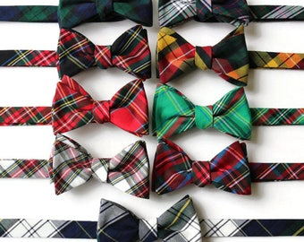 Tartan Plaid Bow Tie~Mens Self Tie Bow Tie~Mens Pre Tied~Anniversary Gift~Wedding Tie~HoBo Ties~Cotton Bow Tie~Mens Gift~Wedding~Mens Plaid