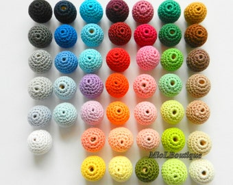 Crochet beads 25 PCS Coloured beads Melange beads Wooden crochet cotton beads Round beads Made to order