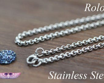Stainless Steel Necklace Chain with Lobster Clasp - Finished Necklace chain - Stainless Steel Rolo Chain - Stainless Steel Chain, Rolo Chain