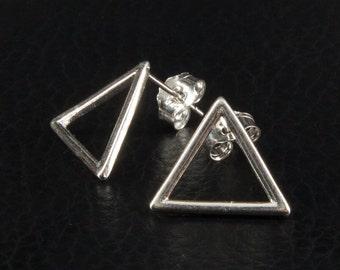 Triangle Stud Geometric Earrings,  Silver 925 Plated, Silver Triangle Earrings, Minimalist Jewelry, Modern Jewelry, Geometric Jewelry