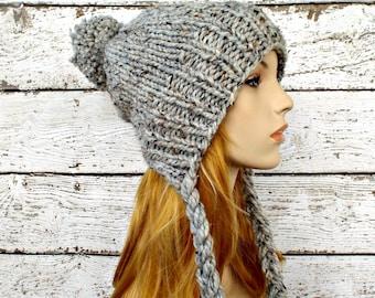 Instant Download Knitting Pattern - Knit Ear Flap Hat Pattern - Knit Hat Pattern Charlotte Split Brim Slouchy Hat - Womens Hat Pattern
