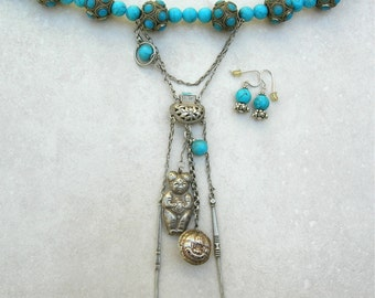 UNIQUE Antique Chinese Dangles, Turquoise & Glass Beads, Investment/Statement Necklace Set by SandraDesigns