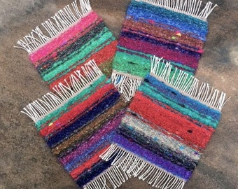 Handwoven Fiesta Mug Rugs, Set of 4, coasters
