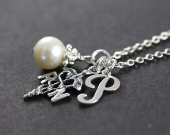 Nurse Gift, Personalized Initial RN Necklace, RN Gifts, Nurse Graduation Gift, 925 Sterling Silver Jewelry