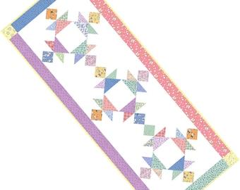 "SALE, Buy 2/Get 1 Free -- SCRAP BASKET Table Runner, Pdf quilt pattern, 18"" x 46"""