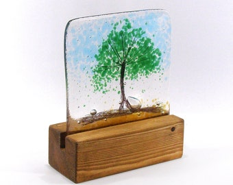 Fused Glass Tree Green in stand, Kiln Fired, Gift, Glass gift, nature lover gift, tree, Summer