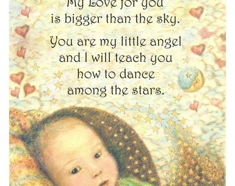 Baby shower gift original illustration and verse giclee print