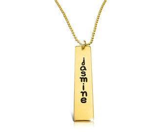 Kim Kardashian Necklace Gold Bar Necklace Engraved Bar Necklace Stamped Necklace Gold Stamped Necklace Stamped Bar Necklace Stamped Jewelry