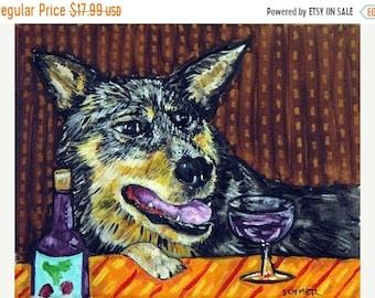 25% off Australian Cattle Dog at the Wine Bar Dog Art  Print  Gift