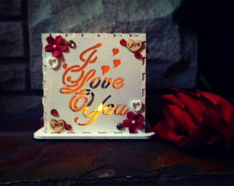 I love you tea light box