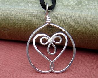 Celtic Embraced Heart Sterling Silver Pendant, Silver Heart Necklace, Heart Pendant Gift for Wife Celtic Knot Women Silver Heart Jewelry