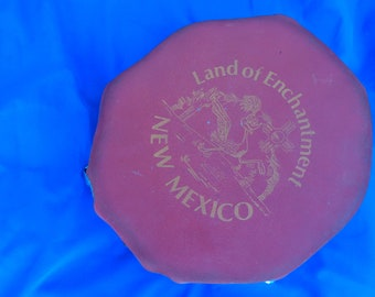 Vintage 90s New Mexico Land of Enchantment with RoadRunner Made in USA from Cranberry Lake Souvenir leather top drum