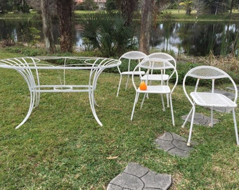 SALTERINI Patio Set ATTR. w/GLASS--PATI0 M C M Set Steel Table, GLaSS ToP, Atomic Patio Set, 4  Chairs, Iron, Mesh / Mid Century Modern, at