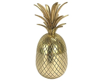 """Solid Brass Pineapple Box — 10"""" H"""