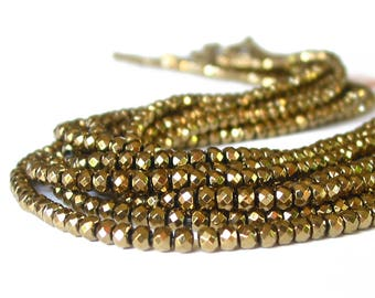 """15"""" Hematite 4mm Golden Pyrite Color plated faceted rondelle Beads gemstone - non magnetic"""