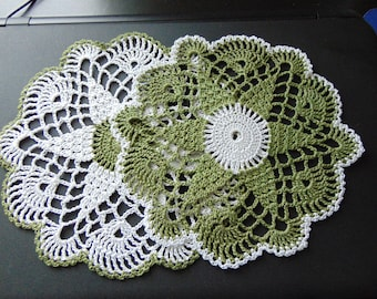 Star doilies in white and olive (2 doily set)