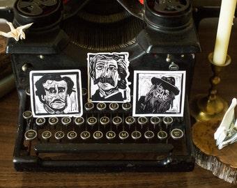 Set of 3 Vinyl Stickers -- Mark Twain -- Edgar Allan Poe -- Walt Whitman -- literary gifts for teacher -- classic literature gift