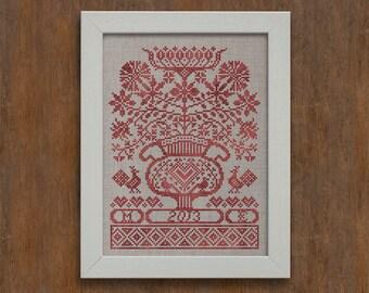 Folk Flowers - Instant Download PDF cross-stitch pattern