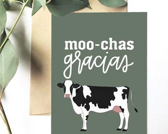 Moo-chas gracias - Greeting Card