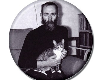 Edward Gorey holding a cat 1.75 inch pinback button