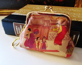 Vintage Chinoiserie Coin Purse, Hollywood Regency Change Purse, Leather Framed Coin Purse, Key Chain and Coin Purse